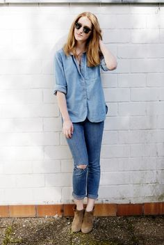 "Cailin of ""Birds of a Feather Flock Together"" wearing UO's button up #urbanoutfitters - I can never find a good jean long sleeve polo! This is nice.... :)"