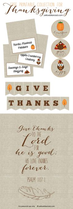 Free Thanksgiving Printables - Yellow Bliss Road