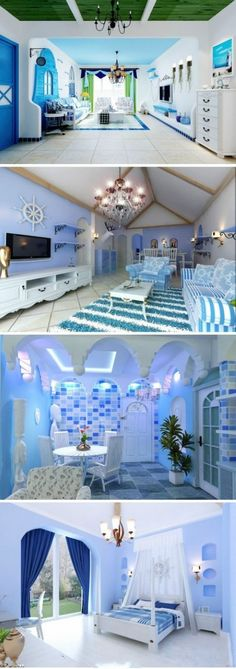 I like blue room decor idea