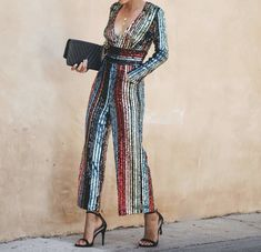 European And American Style Short High Collar Printed Colour Jumpsuit Satin Bluse, Festa Party, Collar Designs, High Collar, Types Of Sleeves, Sleeve Styles, Sequins, Bodycon Dress, One Piece