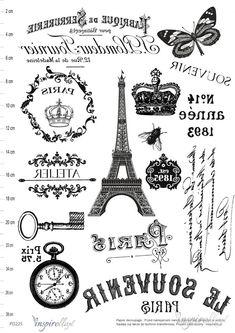 PARIS Elektroniczny papier decoupage: GRAFIKI VINTAGE - ODBICIE LUSTRZANE Glass Transfer, Foto Transfer, Paris Crafts, Printable Art, Printables, Illustrations Vintage, Bible Doodling, Images Vintage, Decoupage Vintage