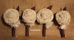 Customized Burlap Rose Boutonnieres for Vintage by GypsyFarmGirl, $10.00