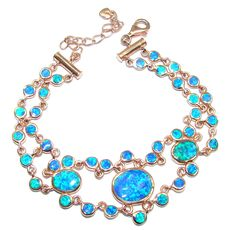 $159.50 Sublime+AAA+Japanese+Fire+Opal+Gold+plated+over+Sterling+Silver+Bracelet at www.SilverRushStyle.com #bracelet #handmade #jewelry #silver #opal