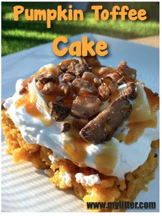 Pumpkin Toffee Cake Recipe ~ Says: This is so super rich and very good! Be prepared to bring the recipe with you when you take it somewhere… Plus your house smells amazing!