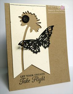 handmade card by Nancy McKinney ... three main elements ... kraft card base ... vanilla tag panel ... black die cut butterfly ... luv the use of negative space flower on the tag ....