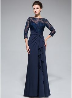 Empire Scoop Neck Floor-Length Lace Jersey Mother of the Bride Dress With Beading Sequins Split Front Cascading Ruffles