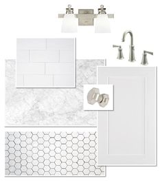 Perfection. It tells me exactly what I need to choose to have this look White Bathrooms, Dream Bathrooms, Small Bathroom, Master Bathroom, Bathroom Remodel Cost, Bathroom Renovations, Home Remodeling, Eclectic Bathroom, Bathroom Interior Design
