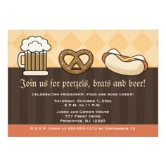 We'll keep the menu simple with pretzels, brats, sauces And bier