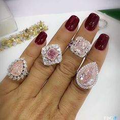 DID SOMEONE SAY PINK???? Do you know what a treat it is to have an entire handful of fancy pink diamond rings on??? From @leibishandco , these rings rocked my world! Rare and beautiful pink diamond rings from @leibishandco