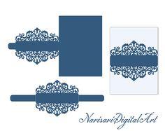 Banda de Cricut vientre de invitación de boda tarjeta de plantilla, 5 x 7'' Lasecut invitación de quinceañera, corte de SVG, archivo de Silhouette Cameo