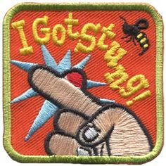 I Got Stung. This site has a lot of weird patches. Girl Scout Patches, Camping First Aid Kit, Camping Resort, Camping Blanket, Merit Badge, Girl Guides, Health And Safety, Girl Scouts, Lapel Pins