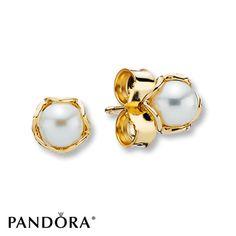 Pandora Earrings Cultured Pearl  14K Yellow Gold