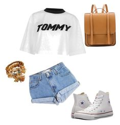 """Street style🍑"" by korneliasz on Polyvore featuring moda, Levi's, Tommy Hilfiger i Converse"