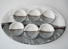 Grey and white Pottery, Winter Landscape Clay Set, Ceramic Tableware, Dish Sets, Winter Landscape, Serving Plates, Clay Creations, Beautiful Kitchens, Wall Sculptures, Grey And White
