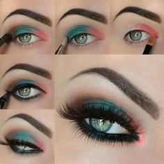 Maquillaje rosa-verde-cafe
