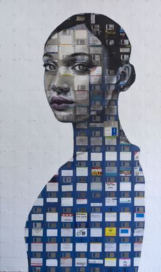 Artist Nick Gentry create compelling works of technology art. Collecting old floppy discs and CDs, he turns them into alluring portraiture. Tape Art, Floppy Disk, Best Portraits, Landscape Drawings, Art Plastique, Best Artist, Les Oeuvres, Art Lessons, Amazing Art