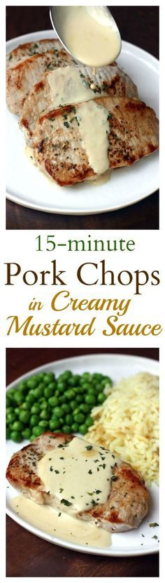 Pan-seared pork chops with a smooth, creamy mustard sauce. An easy dinner that takes just 15-minutes to make! Recipe on TastesBetterFromScratch.com