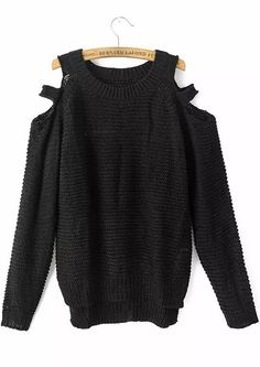 Shop Black Off the Shoulder Long Sleeve Knit Sweater online. Sheinside offers Black Off the Shoulder Long Sleeve Knit Sweater & more to fit your fashionable needs. Free Shipping Worldwide!