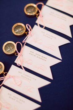 Escort seating cards, Romantic Blush Yacht Club Wedding via TheELD.com | Hunter Ryan Photo