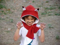 Fox Hooded Scarf Fox Costume hat Hat with Tail by MondoRotondo