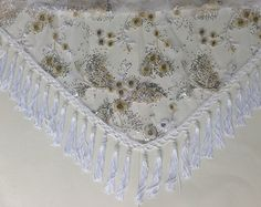 LARGE White & Gold lace scarf, Fringed Wedding Shawl, Silver Gold lace scarf, Gypsy Shawl, Beautiful Piano Shawl,  Formal Shoulder Cover Up by blingscarves. Explore more products on http://blingscarves.etsy.com