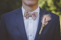 Artsy Victoria Garden Wedding - love the peach accents with the blue suit