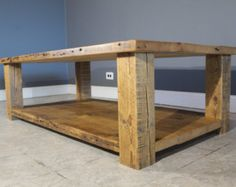Barn Wood Coffee Table w/ Floating Lower Shelf - Endurovar Finish - Wooden Legs - Hand Crafted out of Salvaged Wood - FAST Shipping Low Shelves, Shelf, Coffee Table Furniture, Building Furniture, Salvaged Wood, Vintage Marketplace, Industrial Furniture, Pallet Projects, Barn Wood