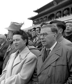 Simone de Beauvoir and Jean-Paul Sartre attend the ceremony of the 6th Anniversary of Communist China. Tiananmen Square, Beijing, China, October 1st, 1955. Photo: Liu Dong'ao / Xinhua.