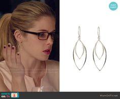 Felicity's earrings on Arrow.  Outfit Details: http://wornontv.net/48484/ #Arrow