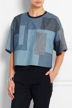 3.1 Phillip Lim | Patchwork cotton-chambray top | NET-A-PORTER.COM