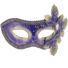 Masks | Mardi Gras - Purple Venetian Mask With Leaves | ThePartyWorks