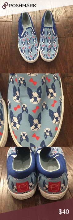 Bulldog Print BucketFeet Shoes Best print! Super comfortable slip on shoes. In good condition. Bucketfeet Shoes Sneakers