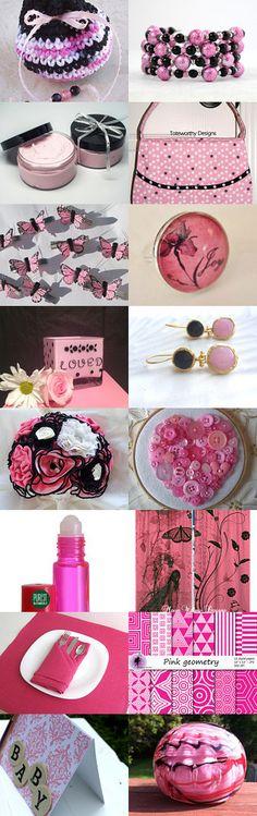 Pink, Black, and White SPOTLIGHT TREASURY SKIRTeam by NICI on Etsy--Pinned with TreasuryPin.com