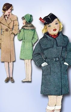 1930s Original Gorgeous Unused Little Girls Fancy Winter Coat Pattern Sz 12 | eBay