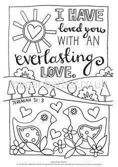 Colouring Sheet Featuring A Simple Typographic Illustration With The Words From Jeremiah 313