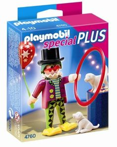 PLAYMOBIL Clown with Dog Show:   Visit the circus to see the Clown with Dog Show. Set includes one figure, balloon, dogs and other accessories. Play with this set alone or combine it with other PLAYMOBIL sets. Recommended for ages four to ten. Playmobil, Germany's largest toy manufacturer, is headquartered in Zirndorf, Germany and has been producing and distributing toys for more than 36 years. The miniature worlds of Playmobil encourage children to explore and learn while having fun. ...