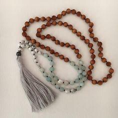 Pink semiprecious white opaque cross necklace or bracelet with tassel stunning meditative zen