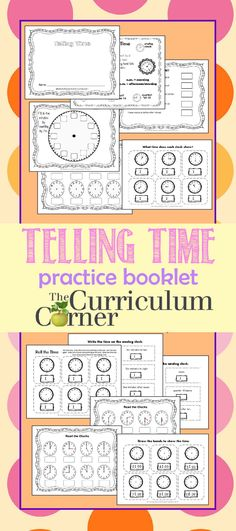 Telling Time Practice Booklet FREE from The Curriculum Corner Best Picture For Montessori Education Telling Time Activities, Teaching Time, Teaching Math, Math Activities, Math Enrichment, Teaching Spanish, Math Games, Homeschool Kindergarten, Elementary Math