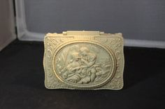 Vintage Celluloid Hard Plastic Victorian Couple Footed Jewelry Trinket Box. Starting at $20
