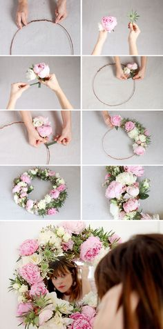 DIY // how to make a fresh flower mirror or with silk flowers? Flower Crafts, Diy Flowers, Fresh Flowers, Paper Flowers, Fabric Flowers, Mirror Paper, Diy Mirror, Mirror Ideas, Diy Floral Mirror