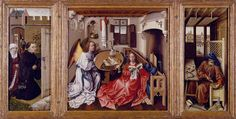 This is the Merode Alter piece thats dated from (1425-1428). This picture depicts religious and secular concerns. i like this picture because there is so much going on in the painting. it makes you think more about the message the author is trying to depict.