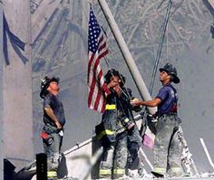 [World Trade Center site, fire man raise U.S. flag] Always Remembering #Sept11