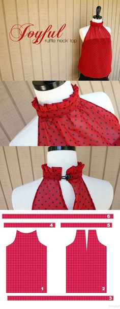 DIY Ruffle Neck Top | DIY Blouse for Women by DIY Ready at diyready.com/diy-clothes-sewing-blouses-tutorial/