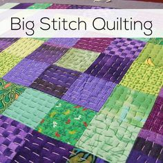 "Learn how to do Big Stitch Quilting - an easy and fun hand quilting technique. It's super fun and forgiving - great for beginners. I'm all for hand quilting; but these stitches look like ""toes snaggers"" to me! Easy Hand Quilting, Machine Quilting Patterns, Hand Embroidery Patterns, Quilt Patterns, How To Hand Quilt, Tatting Patterns, Embroidery Designs, Quilting Stitch Patterns, Hexagon Quilting"