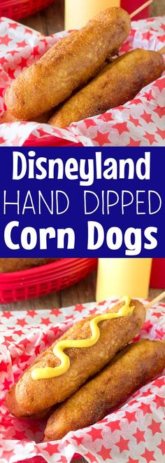These Disneyland-Style Hand Dipped Corn Dogs are covered with a thick cornbread coating and fried to golden brown perfection. It's just like they make them on Main Street at Disneyland's Little Red Wagon.