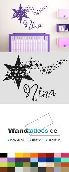 Wandtattoo Stern mit Name als Idee zur individuellen Wandgestaltung. Einfach Lieblingsfarbe und Größe auswählen. Weitere kreative Anregungen von Wandtattoos.de hier entdecken!