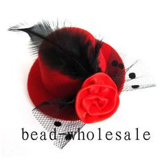 Red 1pc Elegant Mini Top Feather Hat Fascinator Hair Clip Party Costume