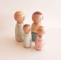 These lovely peg dolls are perfect for dolly play. This family set contains 2 large dolls and 2 small. Hand turned from local Victorian ash...