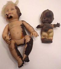 2 Found Vtg Horrible Burned Dolls Haunted? Creepy Scary OOAK Kewpie Halloween