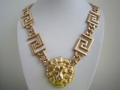 Gold Lion Head Necklace Thick Gold Chunky Curb Chain by PrettyDIY, $12.99